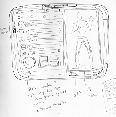 Another early HeroMachine interface design