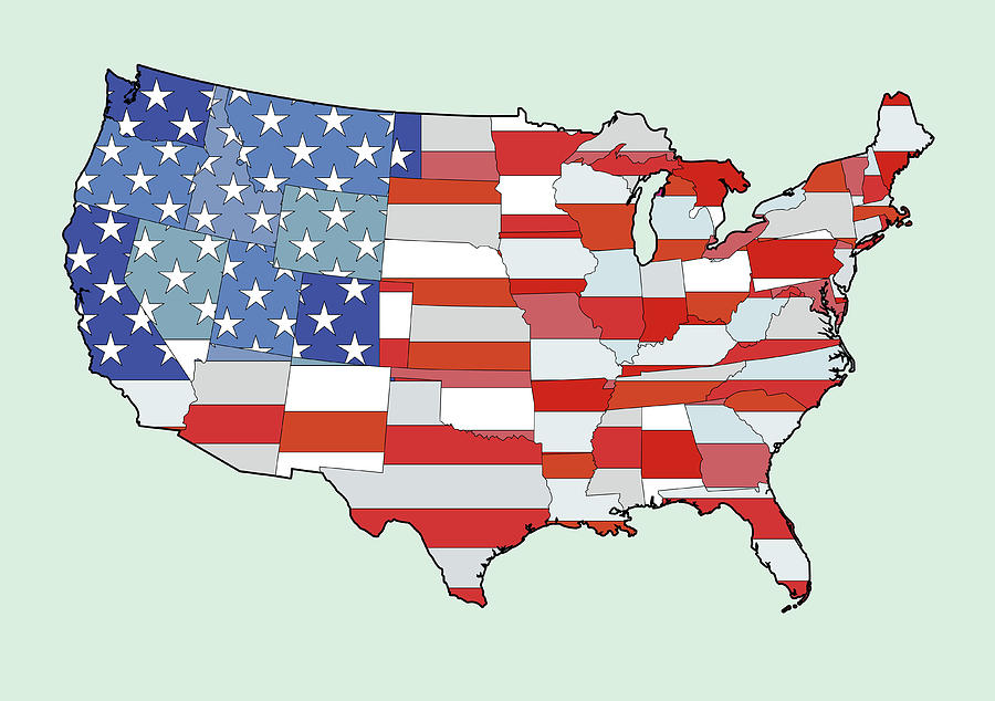Map Of United States Of America Depicting Stars