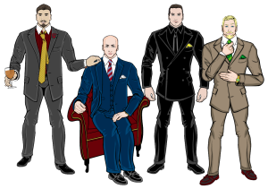 Four non-copyright infringing characters wearing four different styles of suits.