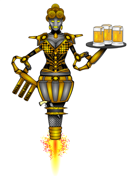 125 djuby- Wild West Saloon Girl Hover Bot