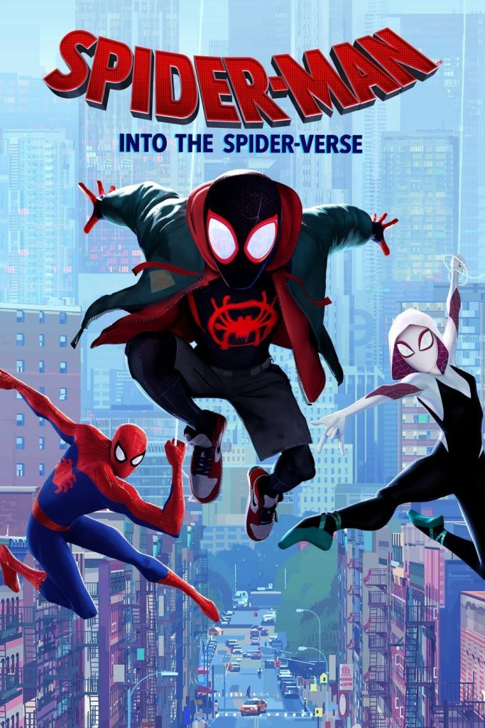 Spider-Man: Into the Spider-Verse poster showing Gwen, Peter, and Miles in front of a city